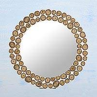 Bamboo mirror, 'Beach Path' - Handcrafted Circular Bamboo Wall Mirror from India