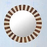 Teakwood wall mirror, 'Naturally Radiant' - Handcrafted Circular Wall Mirror from India