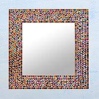 Glass mirror, 'Colorful Petals' - Square Multicolored Mosaic Glass Wall Mirror from India