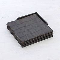 Leather coasters, 'Dark Labrynth' (set of 4) - Set of Four Handcrafted Leather Coasters from India