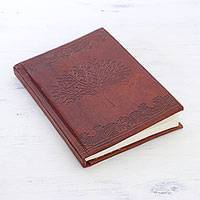 Leather journal, 'Oak Tree Memories' - Tree-Themed Handcrafted Leather Journal from India