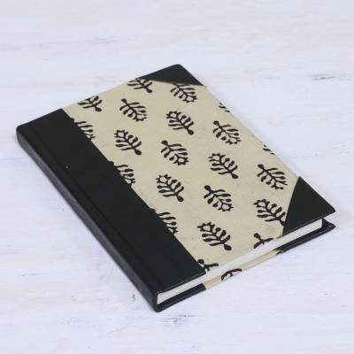 Leather accent cotton journal, 'Leaves of Delhi' - Handcrafted Tree Motif Leather Journal from India
