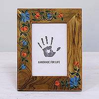 Teakwood photo frame, 'Floral Nostalgia' (4x6) - 4x6 Teakwood Floral Rectangular Photo Frame from India