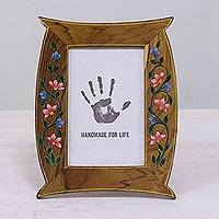 Teakwood photo frame, 'Flowering Memories' (4x6) - 4x6 Floral Hand-Painted Teakwood Photo Frame from India