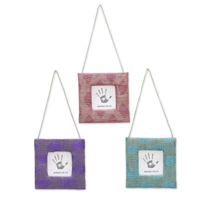 Photo frames, 'Cheerful Memories' (2x2, set of 3) - Set of Three Multicolor 2x2 Picture Frames from India