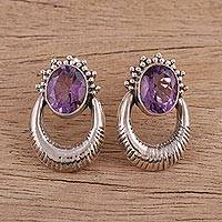Amethyst drop earrings, 'Purple Wonder' - Amethyst and Sterling Silver Drop Earrings from India
