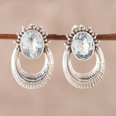 Blue topaz drop earrings, 'Azure Wonder' - Blue Topaz and Sterling Silver Drop Earrings from India