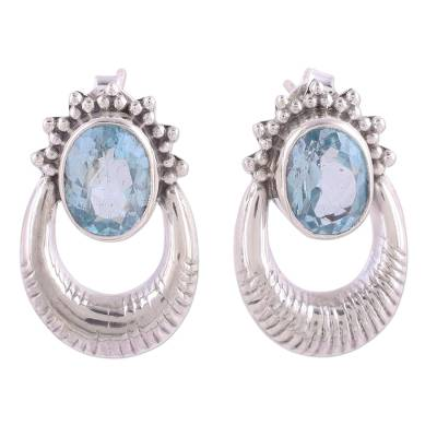 Blue Topaz and Sterling Silver Drop Earrings from India