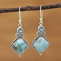 Blue topaz and larimar dangle earrings, 'Pastel Seas' - Blue Topaz and Larimar Sterling Silver Dangle Earrings