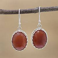 Carnelian dangle earrings, 'Ardent Magic' - Carnelian and Sterling Silver Dangle Earrings from India