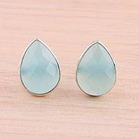 Chalcedony button earrings, 'Raindrop Prisms' - Aqua Chalcedony Sterling Silver Button Earrings from India