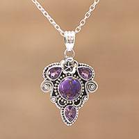 Amethyst pendant necklace, 'Royal Heart' - Amethyst and Composite Turquoise Pendant Necklace