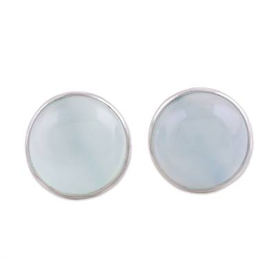 Aqua Chalcedony Round Button Earrings from India