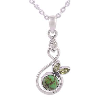 Composite Turquoise and Peridot Pendant Necklace from India