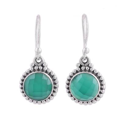 Green Onyx and Sterling Silver Dangle Earrings from India