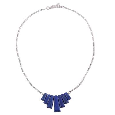 Lapis lazuli pendant necklace, 'Trendy Blue' - Lapis Lazuli Waterfall Pendant Necklace from India