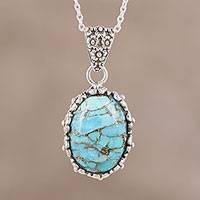 Sterling silver pendant necklace, 'Copper Current' - Composite Turquoise Copper Flakes Pendant Necklace