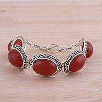 Onyx link bracelet, 'Fiery Bliss' - Fiery Red Onyx and Sterling Silver Link Bracelet from India