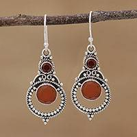 Garnet and onyx dangle earrings, 'Bollywood Afire' - Bollywood-styled Garnet and Sterling Silver Hook Earrings
