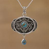 Sterling silver pendant necklace, 'A World of my Own' - Oxidized and Polished Silver Composite Turquoise Necklace