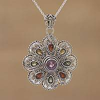 Multi-gemstone pendant necklace, 'Floral Magnificence' - Hand Crafted Sterling Silver Gemstone Pendant with Chain