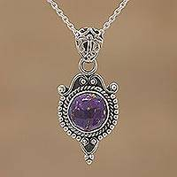 Sterling silver pendant necklace, 'Courtly Presence' - Purple Composite Turquoise and Silver Pendant Necklace