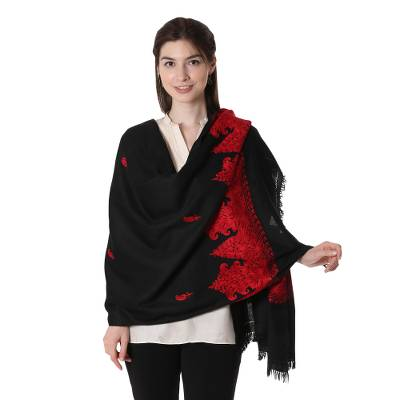 Wool shawl, 'Midnight Romance' - Woolen Woven Shawl with Paisley Embroidery from India
