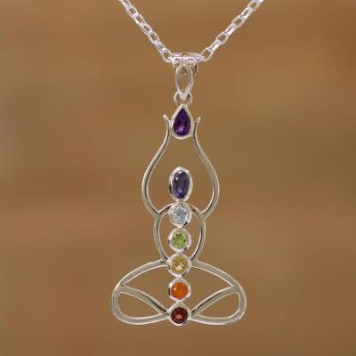 Multi-Gemstone Chakra Meditation Pendant Necklace from India
