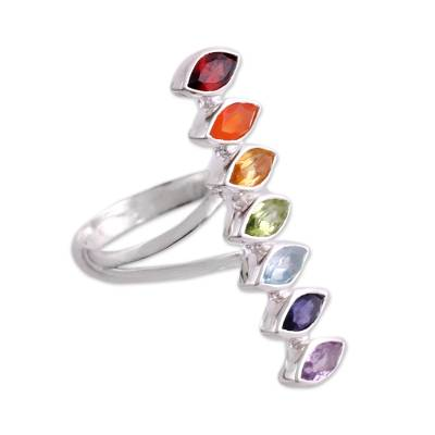 Multi-gemstone cocktail ring, 'Chakra Alliance' - Multi-Gemstone Chakra Cocktail Ring Handmade in India