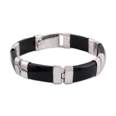 Onyx link bracelet, 'Artistic Vibe' - Onyx and Sterling Silver Link Bracelet from India