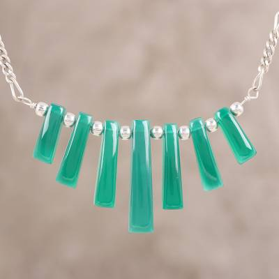 Onyx waterfall necklace, 'Verdant Falls' - Green Onyx and Sterling Silver Waterfall Necklace from India