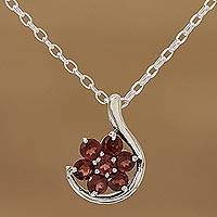 Rhodium plated garnet pendant necklace, 'Hooked Flower' - Rhodium Plated Natural Garnet Pendant Necklace from India