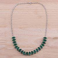 Rhodium plated onyx pendant necklace, 'Nature's Sparkle' - Rhodium Plated Green Onyx Pendant Necklace from India