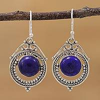 Lapis lazuli dangle earrings, 'Elegant Globes' - Lapis Lazuli and Sterling Silver Dangle Earrings from India