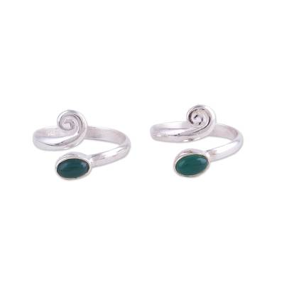 Onyx toe rings, 'Green Curl' (pair) - Two Green Onyx and Sterling Silver Toe Rings from India