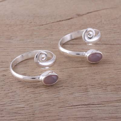 Rose quartz toe rings, 'Pink Curl' (pair) - Two Rose Quartz and Sterling Silver Toe Rings from India