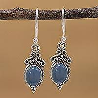 Chalcedony dangle earrings, 'Elegant Gloss in Blue' - Blue Chalcedony and 925 Silver Dangle Earrings from India