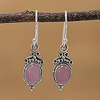 Chalcedony dangle earrings, 'Elegant Gloss in Pink' - Pink Chalcedony and 925 Silver Dangle Earrings from India