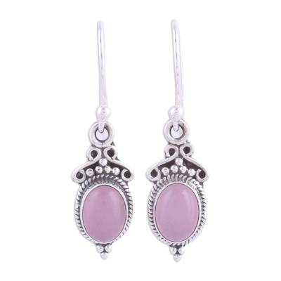 Pink Chalcedony and 925 Silver Dangle Earrings from India