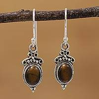 Tiger's eye dangle earrings, 'Sleek Charm' - Tiger's Eye and Sterling Silver Dangle Earrings from India