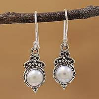 Cultured pearl dangle earrings, 'Glossy Charm' - Cultured Pearl Sterling Silver Dangle Earrings from India