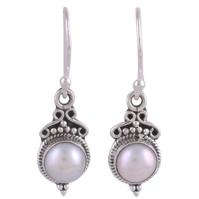 Cultured pearl dangle earrings, 'Glossy Charm' - Cultured Pearl Sterling Silver Dangle Earrings from India