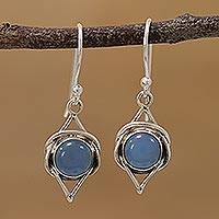 Chalcedony dangle earrings, 'Intricate Twirl in Blue' - Indian Blue Chalcedony and Sterling Silver Dangle Earrings