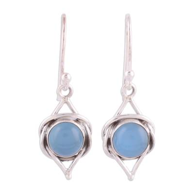 Handmade Indian Blue Chalcedony and Sterling Silver Dangle Earring
