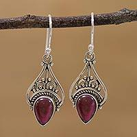 Garnet dangle earrings, 'Crowned Drops' - Garnet and Sterling Silver Dangle Earrings from India