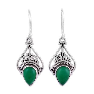 Fair Trade Green Onyx and Sterling Silver Indian Dangle Earrings