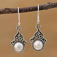Cultured pearl dangle earrings, 'Crowned Charm' - Cultured Pearl Sterling Silver Dangle Earrings from India