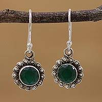 Onyx dangle earrings, 'Green Appeal' - Green Onyx and Sterling Silver Floral Dangle Earrings