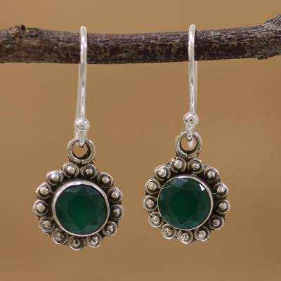 Novica Jade dangle earrings, Three Desires