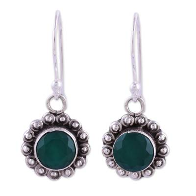 Green Onyx and Sterling Silver Floral Dangle Earrings